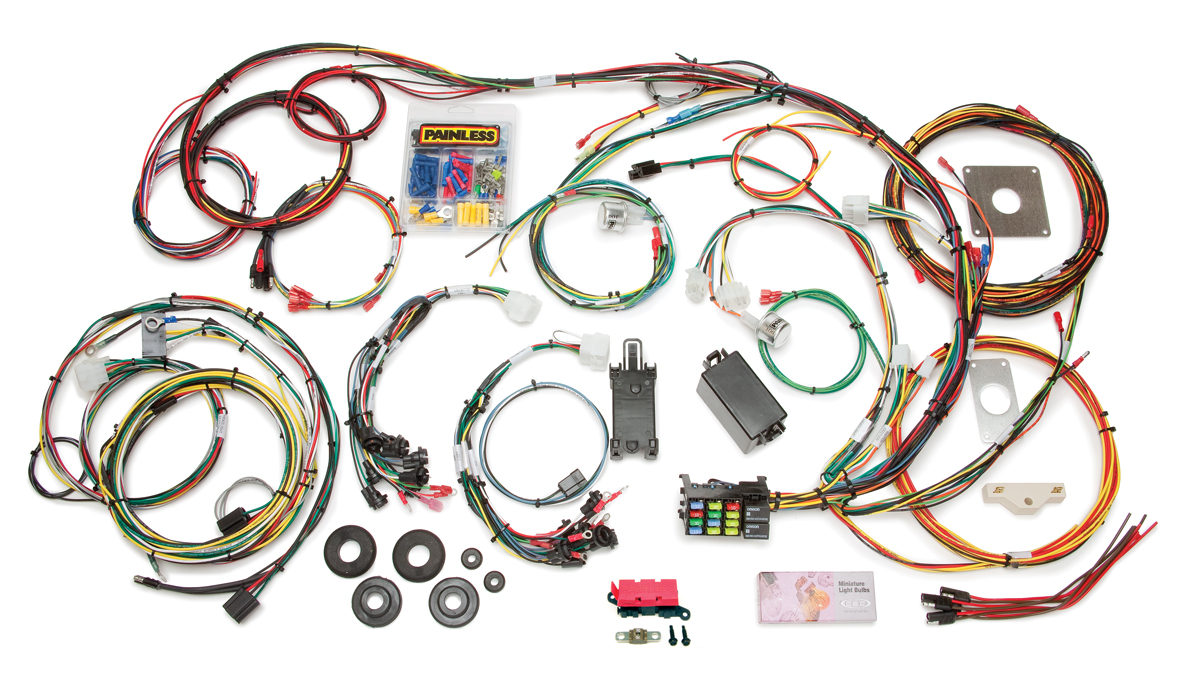 66 mustang wiring diagram 2005 660 raptor 22 circuit direct fit 1965 chassis harness painless by performance