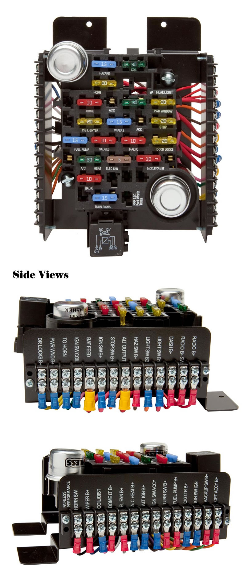 hight resolution of universal style pre wired 20 circuit fuse block by painless performance
