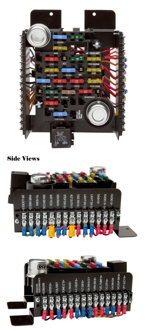 small resolution of universal style pre wired 20 circuit fuse block by painless performance