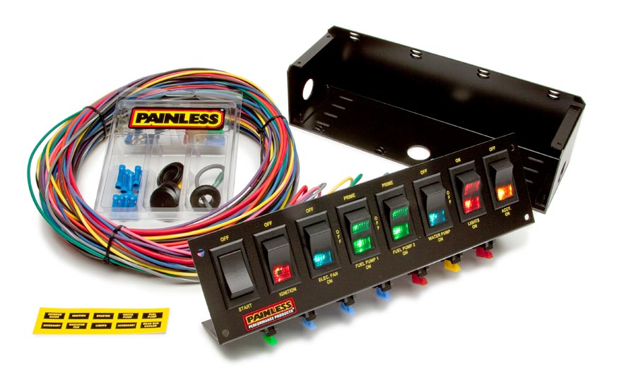 boat accessory switch panel wiring diagram dc ammeter shunt painless great installation of 8 fused w all necessary hardware rh painlessperformance com basic ignition system 120v electrical