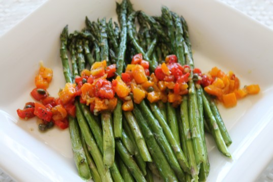 Asparagus with Roasted Pepper Salsa
