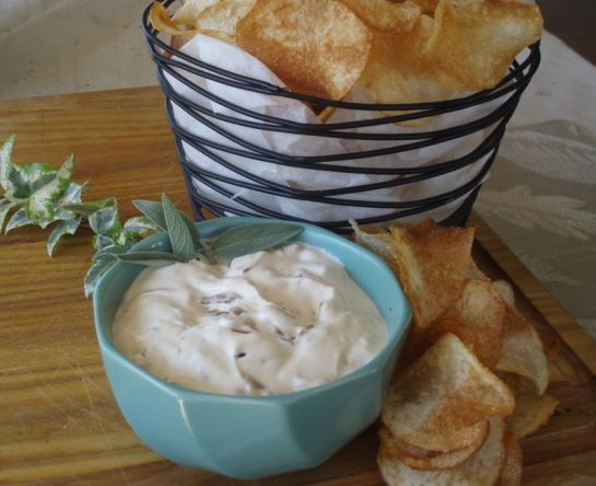 Carmelized Onion Dip and Potato Chips- Cropped