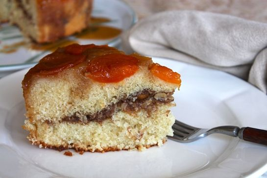 Slice of Apricot Upside Down Streusel Cake