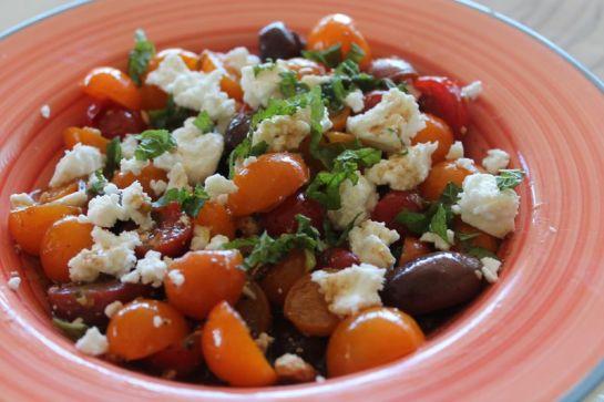 Heirloom Cherry Tomato and Olive Salad with Israeli Feta