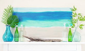 Summer Mantel And DIY Beach Inspired Painting
