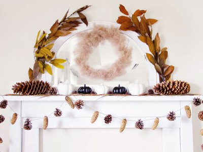 Pinecones and Pumpkins Fall Mantel