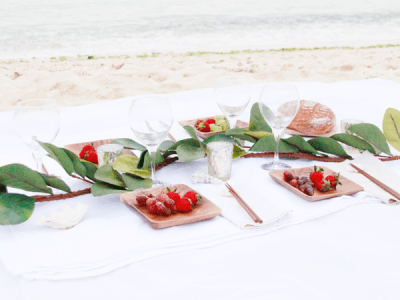 A Simple Beach Picnic Setting