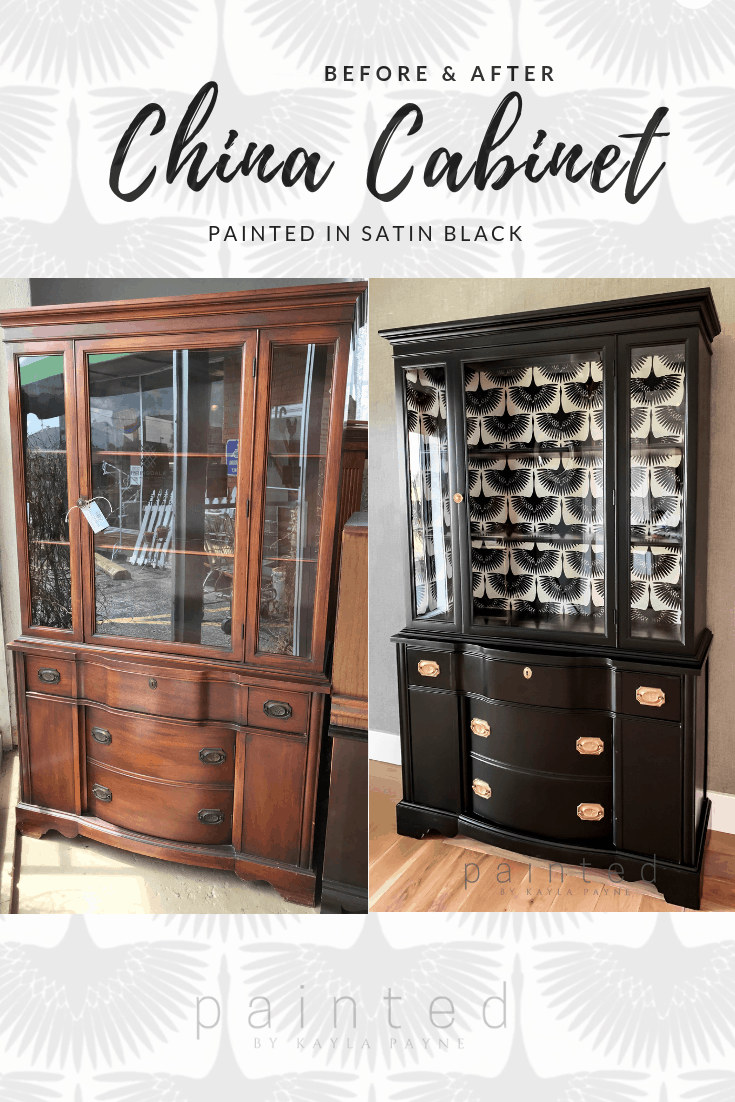 China cabinet before and after  Painted by Kayla Payne