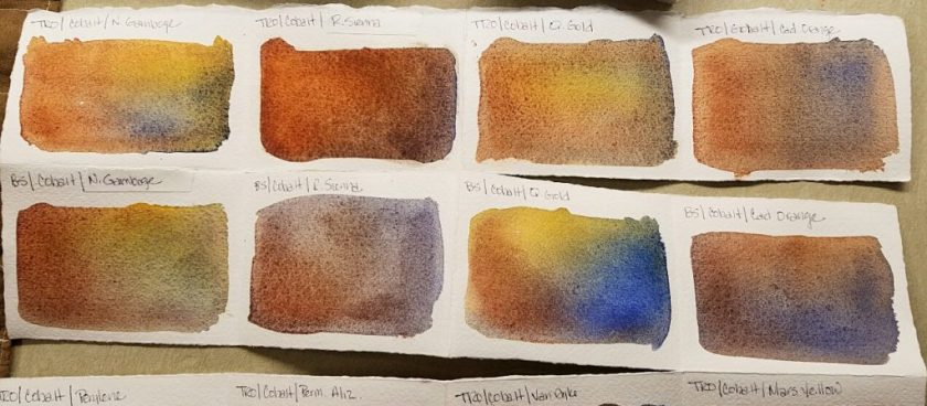 The top row is transparent red oxide & cobalt blue mixed with various yellows. Bottom row is burnt sienna & cobalt mixed with those same yellows.