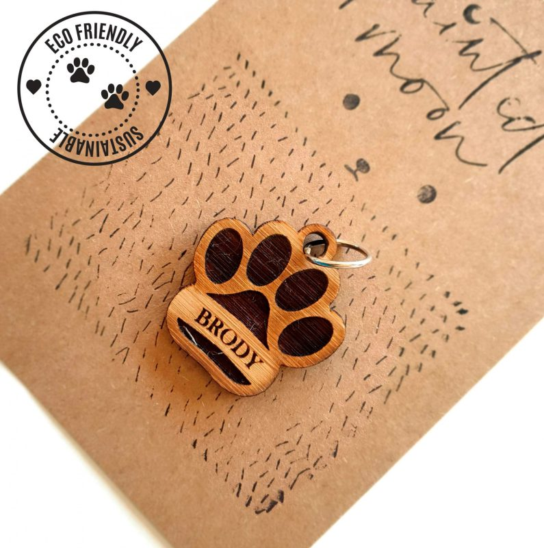 Personalised Bamboo Paw Dog Tag