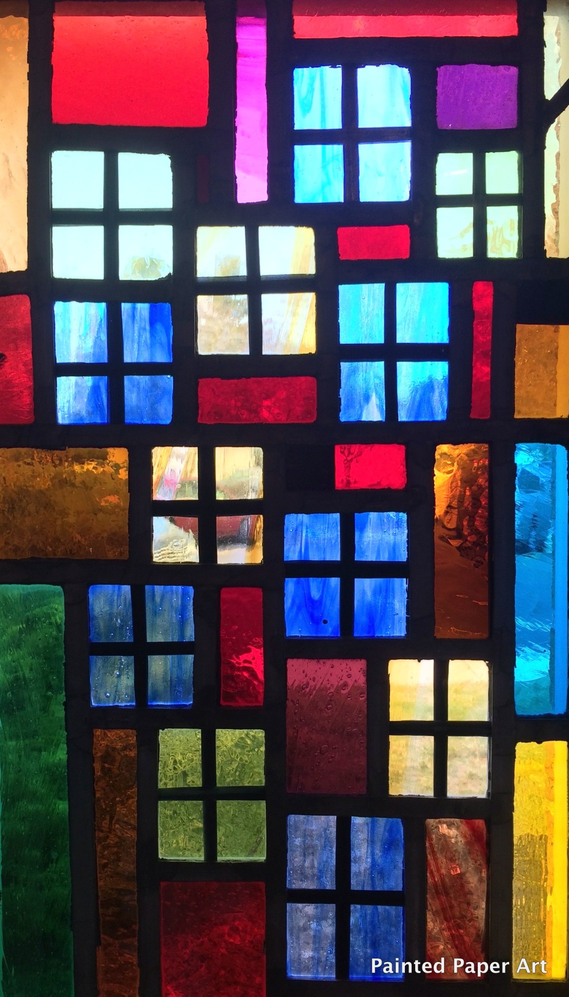 Faux stained glass windows painted paper art for Art glass windows