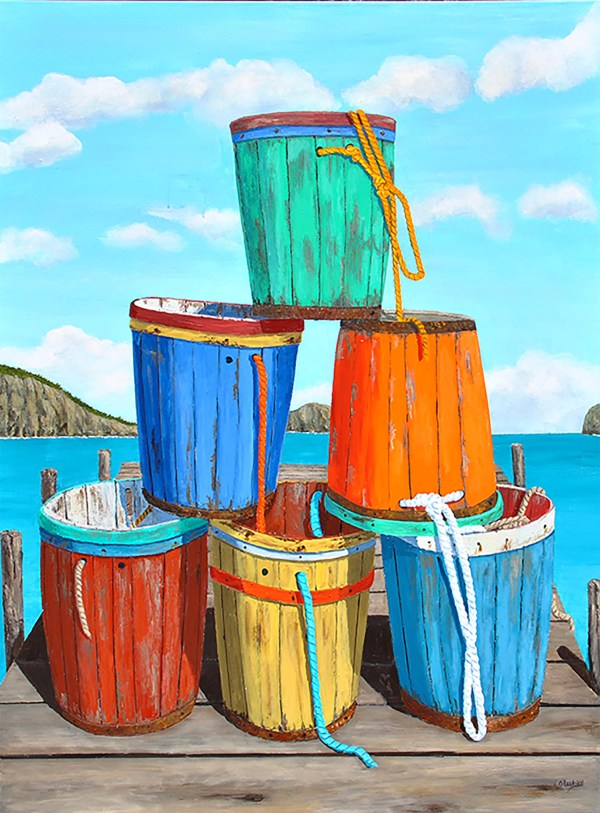 Painting by Tom Alway, Dry Dock at the Maritime Paintred Saltbox Gallery