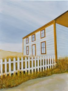 """House at Keels by Peter Blais, acrylic on canvas, 18""""  x 24"""" at the Maritime Painted Saltbox Fine Art Gallery in Petite Riviere, Nova Scotia"""