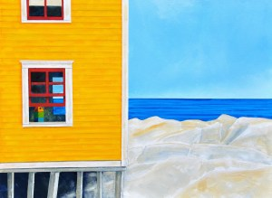 """Beach House by Peter Blais, acrylic on canvas 18""""  x 24"""", at the Maritime Painted Saltbox Fine Art Gallery in Petite Riviere Nova Scotia"""