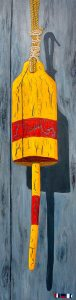 "An Admirable Buoy with a Distinguished Service by Tom Alway, acrylic and mixed media on gallery canvas 15"" x 60"" at the Maritime Painted Saltbox Fine Art Gallery in Petite Riviere Nova Scotia commissioned"