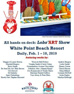 "The Maritime Painted Saltbox is participating in the White Point Lobs'ART Show at White Point as part of the White Point Year of the Lobster and the Nova Scotia Lobster Crawl.  The Show runs  February 1-February 10, 2019.  For further information go to  https://www.whitepoint.com/events/lobsart-show-at-white-point/  The poster features Tom Alway's newest painting for 2019 36"" x 48"" acrylic on gallery canvas ""Dress Circle at the Crustacean Carnival."" This painting will be on display at the show."