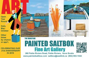 The Maritime Painted Saltbox Fine Art Gallery  halfpage ad for the  2019 Spring edition of Visual Arts Magazine