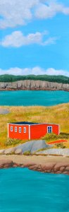 "Natural Quarterage, Artist Tom Alway, acrylic on canvas, 12"" x 36 "" at the Maritime Painted Saltbox  Fine Art Gallery in Petite Riviere, Nova Scotia"