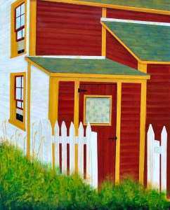 "Picket Line by Peter Blais, acrylic on canvas 26"" x 38"" framed at the Maritime Painted Saltbox Fine Art Gallery in Petite Riviere Nova Scotia"