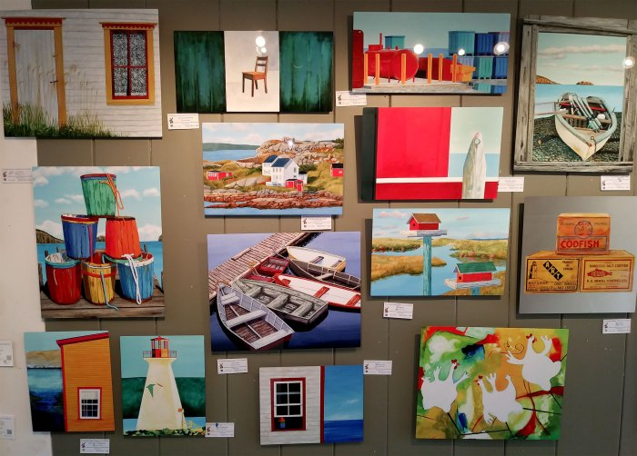 A Wall of Metal Prints at the Maritime Painted Saltbox