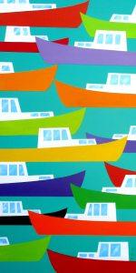 "Fish Chowder Aqua by Peter Blais  18""x 36"" Metal Print atthe Maritime Painted Saltbox Fine Art Galleryin Petite Riviere Nova Scotia"