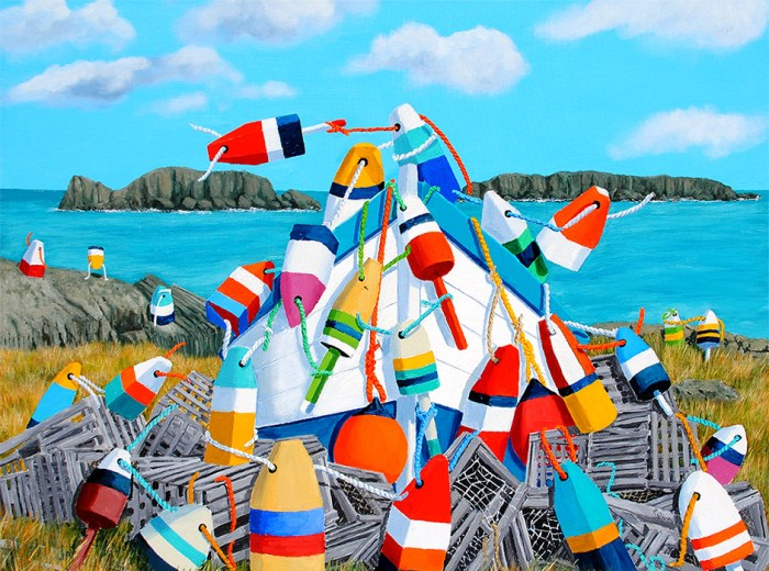 Buoy-King of the Hill by Tom Alway, acrylic o canvas 30 x 40 at the Maritime Painted Saltbox Fine Art Gallery in Peite Riviere Nova Scotia