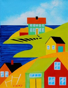 """Coming Home: House on the Hill by Peter Blais, acrylic on canvas, 14"""" x 18"""" framed at the Maritime Painted Saltbox Fine Art Gallery in Petite Riviere Nova Scotia"""