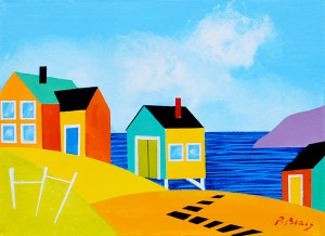 """Coming Home: Steps to the Shore By Peter Blais, acrylic on canvas 14"""" x18"""" framed at the Maritime Painted Saltbox fine Art Gallery in Petitie Riviere Nova Scotia"""