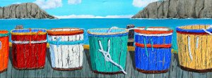 """What's my Line by Tom Alway, acrylic and mixed media on gallery canvas 15"""" x 48""""  at the Maritime Painted Saltbox Fine Art Gallery in Petite Riviere Nova Scotia"""
