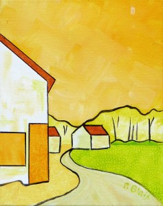"""P1020060 The Lane, by Peter Blais, acrylic on canvas 14"""" x 18"""" framed at the Maritime Paintd Saltbox Fine Art Gallery in Petite Riviere NS"""
