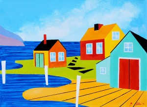 """Coming Home: Everett's House by Peter Blais, acrylic on canvas, 14"""" x 18"""" at the Maritime Painted Saltbox Fine Art Gallery in Petite Riviere Nova Scotia"""