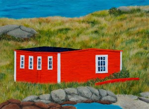 """Once...There was a big Wind, by Tom Alway, acrylic on canvas 20"""" x 26"""" framed  at the Maritime Painted Saltbox Fine Art Gallery in Petite Riviere Noa Scotia"""