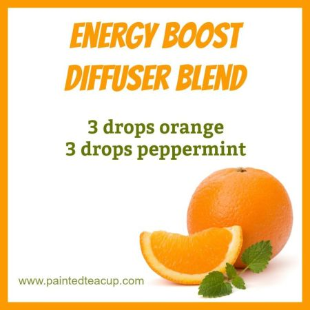 Energy boost diffuser blend with peppermint and orange essential oil. Click to see more essential oils for energy!