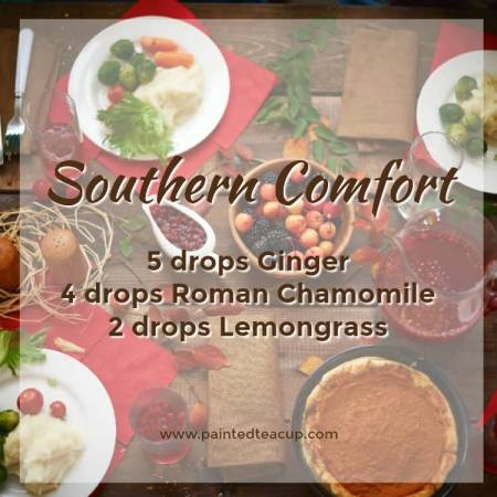 Southern Comfort Essential Oil Diffuser Recipe for the Holidays . Diffuser blend made with ginger, chamomile and lemongrass