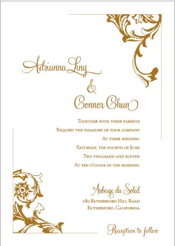 Florentine classic style wedding invitation design