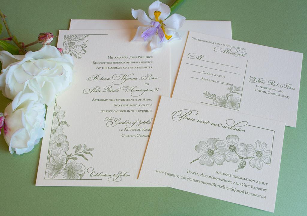 Traditional Elegant Garden Wedding Invitation