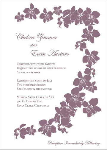 Orchid floral purple wedding invitation