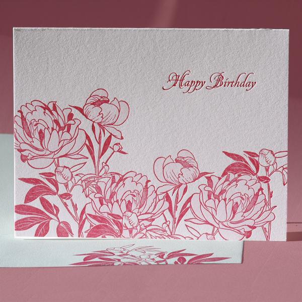 Peony Birthday Card