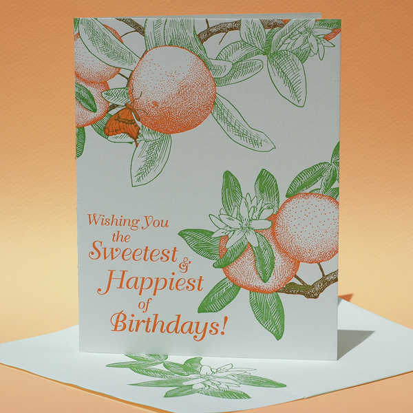 """Orange Tree with Swallowtail Butterfly, """"Wishing You the Sweetest & Happiest of Birthdays"""""""