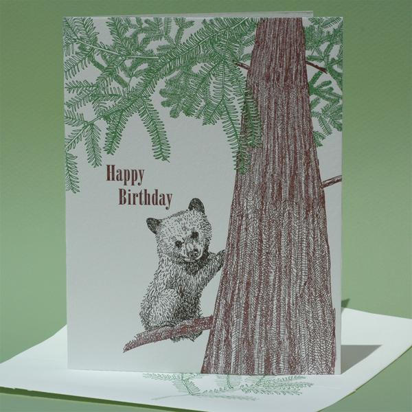 "Redwood Tree with Bear Cub, ""Happy Birthday"""