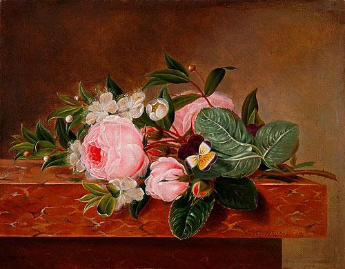 Blumenstilleben mit Rosen Stiefmtterchen und Bltenzweigen Gemlde von Frederike Wanding als
