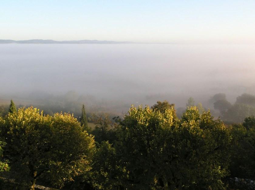 studio view of misty landscape