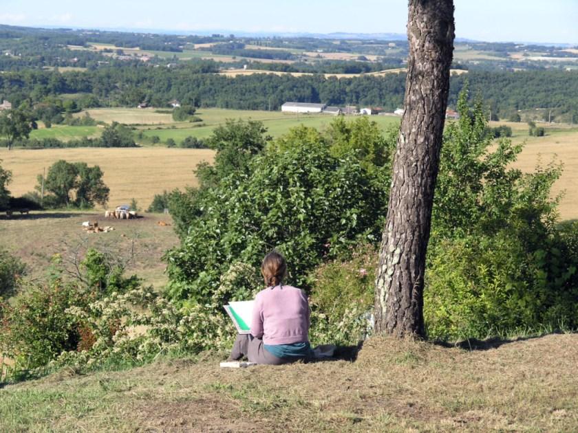 Feitje at work in landscape