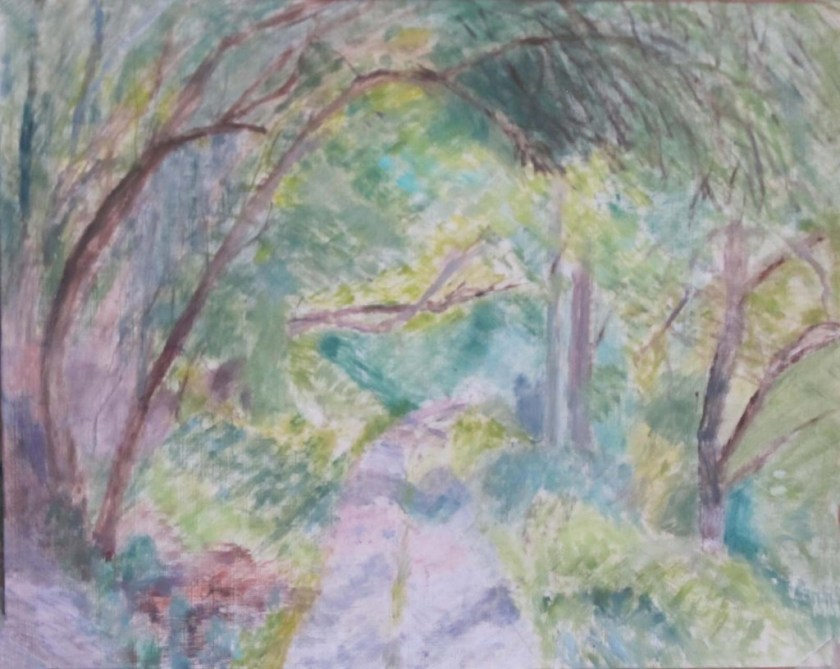 Mary Burke down the pathway-oil