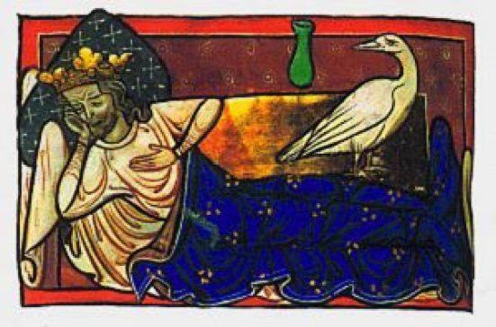 Caladrius bird looks at king