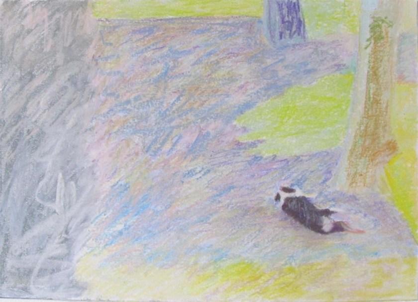 marianne Psserieu-reclining dog