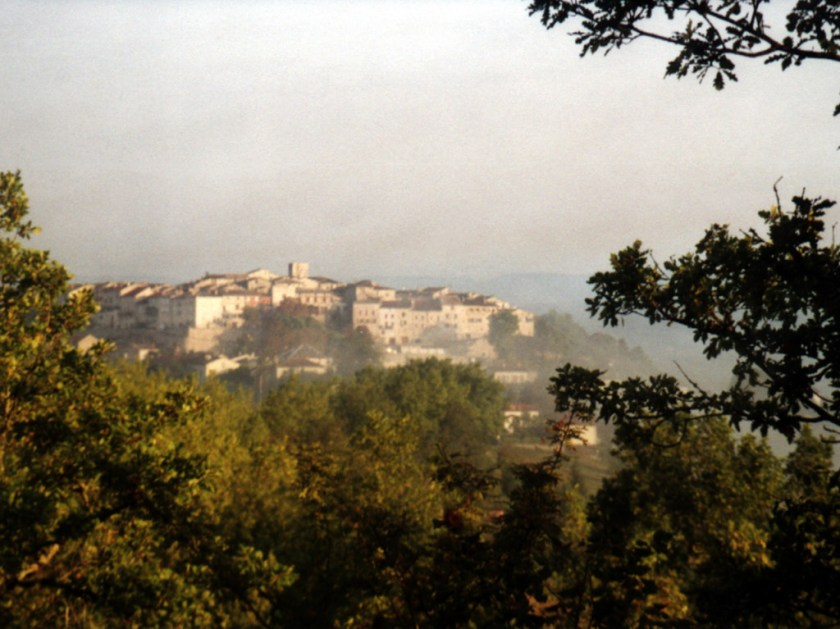 Distant early morning view of Montmiral