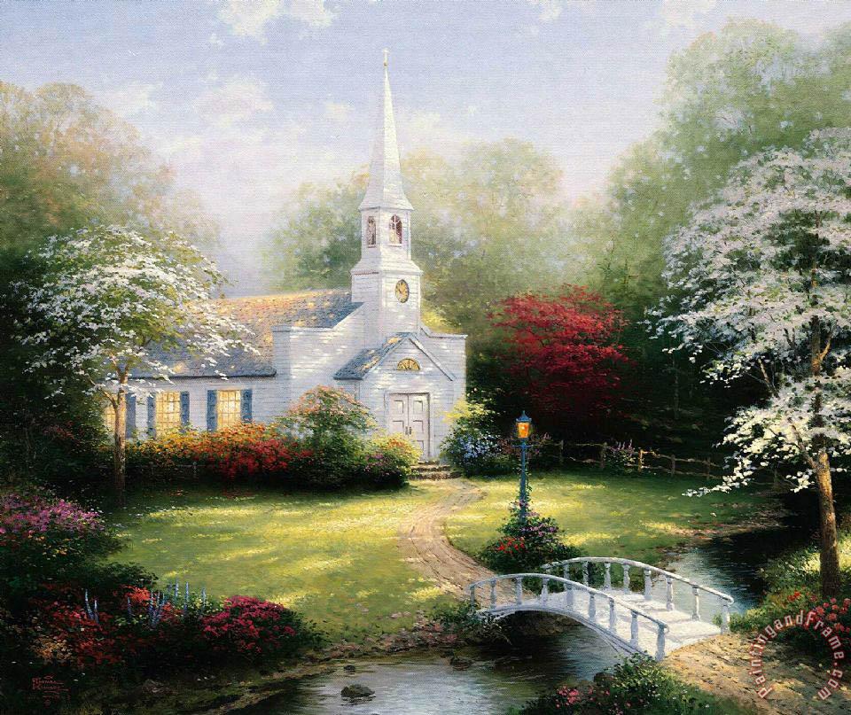 Fall Fairy Wallpaper Thomas Kinkade Hometown Chapel Painting Hometown Chapel
