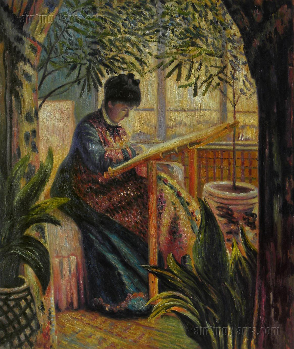 Woman Work Camille Monet Embroidering - Claude