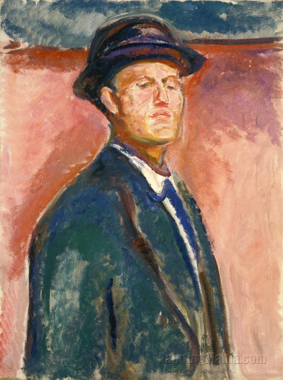 Portrait With Hat - Edvard Munch Paintings